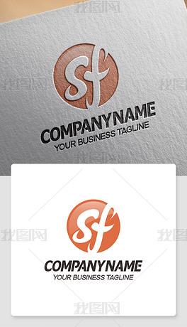 sf型logo设计sf形标志网店网站商标