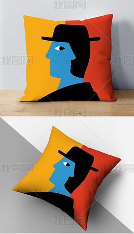 现代简约ins风手绘撞色绅士沙发靠垫抱枕