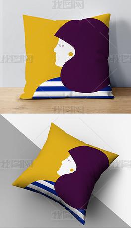现代简约ins风手绘卡通女孩沙发靠垫抱枕
