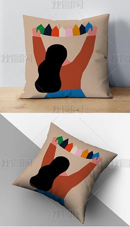 现代简约ins风快乐童年女孩沙发靠垫抱枕