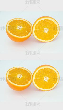切开的新鲜橙子水果高清摄影图