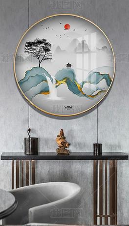 现代简约禅意水墨山水画新中式圆形玄关装饰画