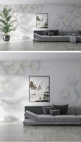 北欧现代客厅沙发墙纸装饰画背景墙场景样机