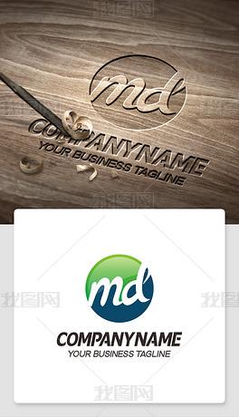 md元素logo设计英文md字母标志