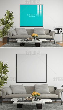 现代客厅沙发单幅正方形装饰画挂画场景样机