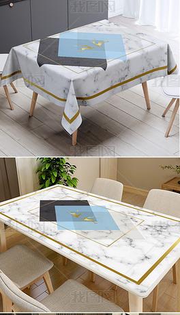ins北欧现代几何色块麋鹿大理石纹桌布茶几布