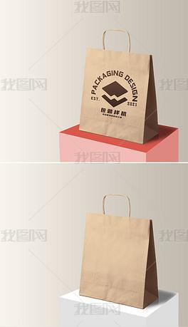 手提牛皮纸购物袋纸袋包装样机