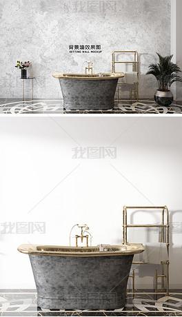 北欧现代浴室墙纸背景墙场景样机