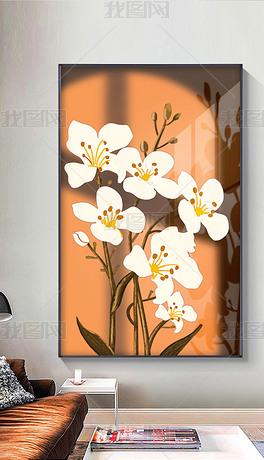 轻奢光影抽象北欧花卉玄关装饰画3