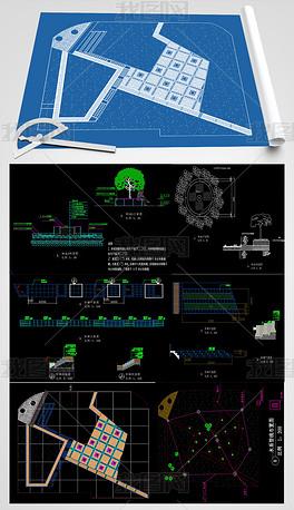 某校区图书馆前园路广场CAD施工图