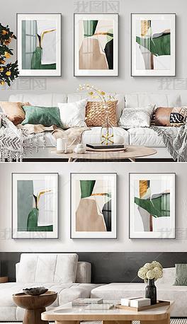 北欧现代艺术轻奢简约抽象三联客厅装饰画