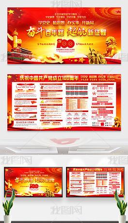 大气庆祝共产党成立100周年主题宣传展板板报