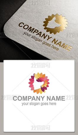 美女头像花朵logo