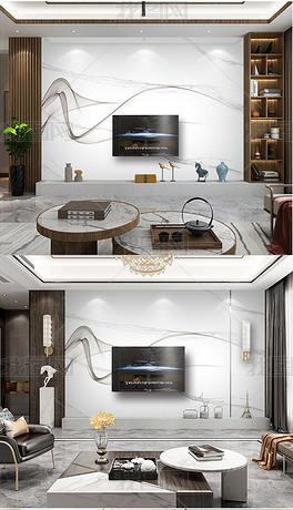 现代简约抽象水墨线条大理石纹电视背景墙
