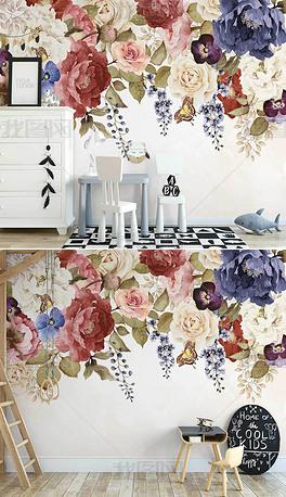 北欧ins手绘小清新复古田园花卉室内背景墙
