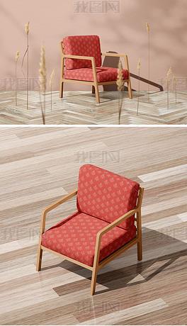 高端实木单人沙发背景墙地板场景效果图样机