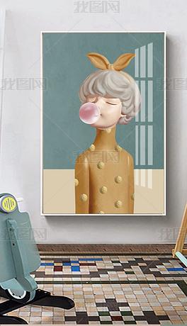 手绘女性女人人物可爱卡通Q版装饰画