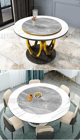 现代简约爵士白大理石纹圆形餐桌饭桌台面桌面