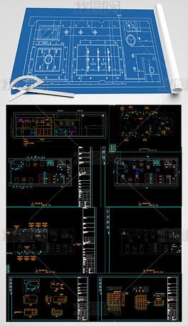 全套理发店CAD装饰水电施工图
