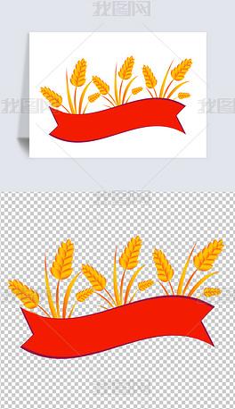 麦穗旗帜标题框五一国庆党建元素