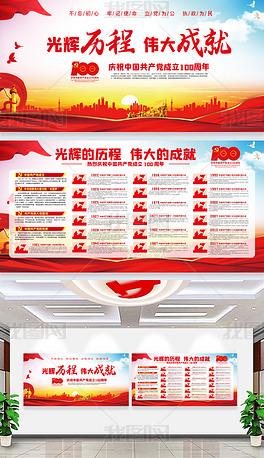 建党100周年党的光辉历程宣传栏