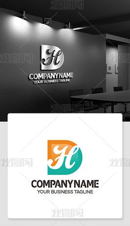 带HD的logo设计DH开头标志品牌图片大全