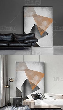 北欧现代肌理抽象油画餐厅玄关客厅落地画装饰画