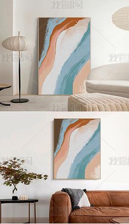 北欧现代抽象粉蓝油画餐厅玄关客厅落地画装饰画