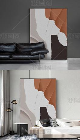 北欧现代抽象色块油画餐厅玄关客厅落地画装饰画