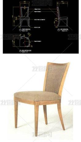 海绵型现代型无扶手椅CAD家具图纸