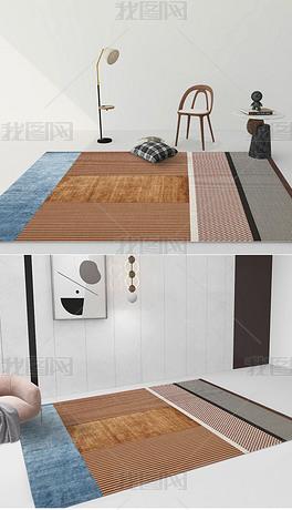 现代北欧简约轻奢抽象进口几何床边毯客厅地毯