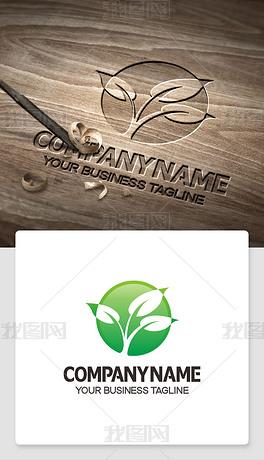 绿叶logo标志标识ai格式高端标志模版