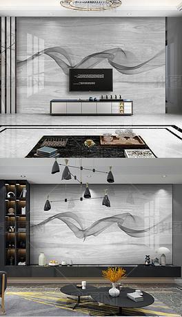 简约灰色大理石纹抽象线条客厅电视悬空背景墙