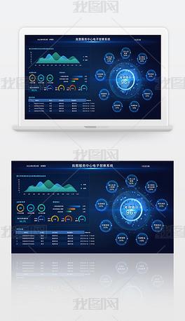 科技蓝色服务中心电子督察系统大数据可视化平台