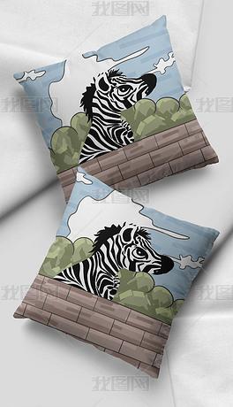 北欧ins风卡通手绘斑马小清新插画抱枕图案