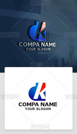 原创精品创意DK字母标志DK字母LOGO设计