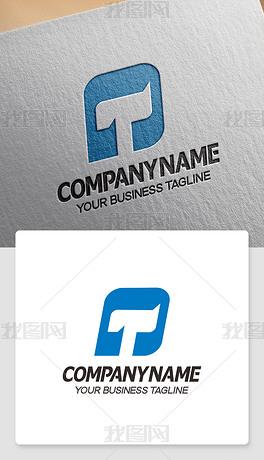 T形logo设计英文T字母标志代表徽标效果图