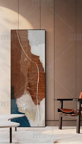 北欧现代简约轻奢抽象油画线条入户玄关装饰画