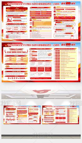 建党100周年七一建党节党史学习光辉历程展板
