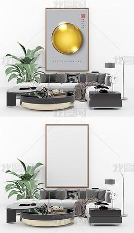 小清新简约客厅3d几何艺术装饰画场景样机