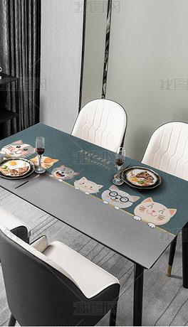 北欧现代简约轻奢抽象卡通小猫桌布茶几餐桌垫