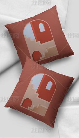 古典轻奢艺术几何建筑抽象色块沙发抱枕靠垫