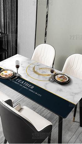 北欧简约轻奢金色羽毛大理石餐厅桌布桌垫