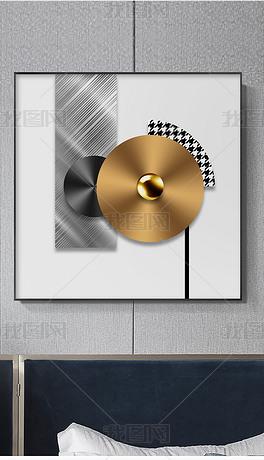 现代轻奢立体金箔画抽象几何光影空间客厅装饰画