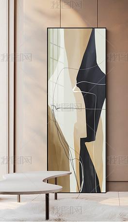 北欧现代简约轻奢油画肌理线条入户玄关装饰画