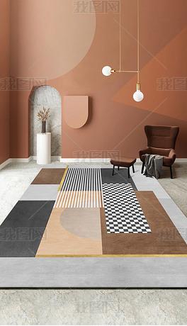 现代北欧轻奢几何抽象创意棋盘格地毯地垫图案