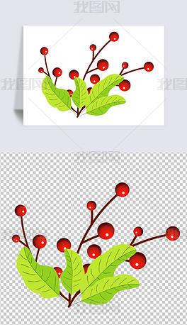 红色果实小花小草卡通手绘植物春季元素