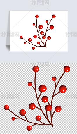 红豆红色果实小花小草卡通手绘植物春季元素