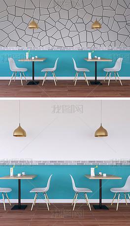 简约咖啡厅餐厅墙纸背景墙场景样机