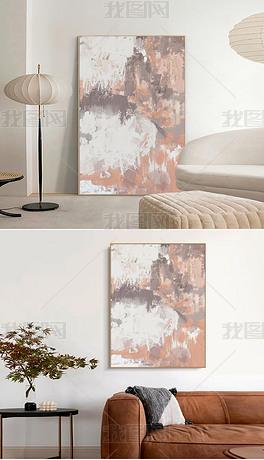 北欧现代粉调抽象油画餐厅玄关客厅落地画装饰画